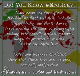 Many countries throughout the Middle East and Asia, including Egypt, India, and North Korea, treat erotica the same as pornography, making both sexually explicit mediums illegal to produce or possess under obscenity laws.